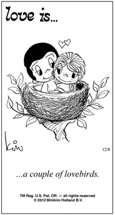 """Love Is... A couple of love birds"" comic strip by Kim Grove Casali #loveis #kimcasali #1970s #seventies #love - Carefully selected by GORGONIA www.gorgonia.it"