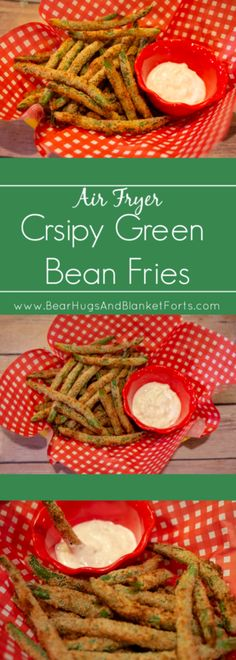 Easy to make and deliciously crispy, these Air Fryer Green Bean Fries are a perfect snack or side! Air Fryer Oven Recipes, Air Frier Recipes, Air Fryer Dinner Recipes, Air Fryer Recipes Green Beans, Fresh Green Bean Recipes, Air Fryer Recipes Breakfast, Pesto Mozzarella, Crispy Green Beans, Air Fried Green Beans
