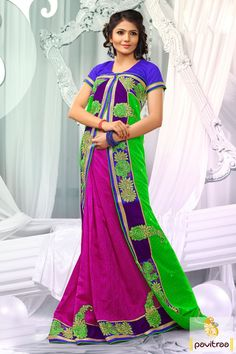 Embellished with lace patti, resham and embroidery works. The bhagalpuri and dhupion made lime dark pink blue designer embroidery Saree is attractive in looks.