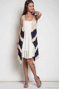 Boho Long Knit Crochet Sleeveless Cardigan Vest-Navy Blue & Beige