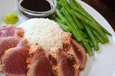 Sesame Crusted Tuna Steak on Arugula | Tuna, Tuna Steaks and Steaks