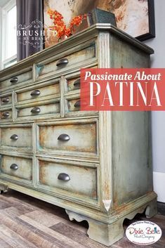 Patina perfection! This amazing piece was painted with Dixie Belle Paint in Spanish Moss Dried Sage Sand Bar Collard Greens and Midnight Sky. Patina paint in Iron and Bronze were used with Blue and Green Patina Spray along with Gator Hide Best Dang Wa