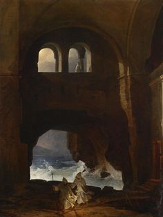 """""""Franz Ludwig Catel, a German artist 1778 - The title of the painting is """"Mönche im Hof eines Klosters, im Hintergrund stürmische See"""" which means in English """"Monks in the courtyard of a monastery, stormy sea in the background"""". Art Nouveau, Art Deco, Classic Paintings, Old Paintings, A4 Poster, Poster Prints, Stürmische See, Ludwig, Am Meer"""