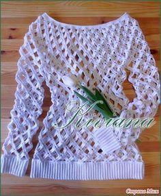 Patrón #1729: Blusa Calada a Ganchillo ~ CTejidas [Crochet y Dos Agujas]