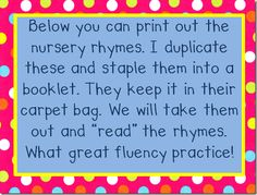 Great way to implement nursery rhymes in your morning meeting while practicing and assessing fluency!