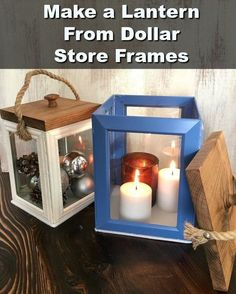 Make these stunning DIY lanterns from thrift store or Dollar Tree frames! Cheap Photo Frames, Picture Frames, Picture Frame Crafts, Cheap Frames, Frames Ideas, Dollar Store Crafts, Dollar Stores, Tree Crafts, Centerpieces