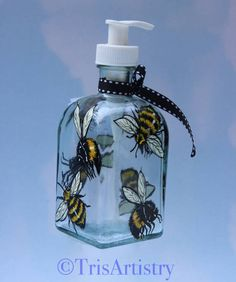 Hand Painted Bumble Bee Pump Flask  Bee Happy Soap Dispenser