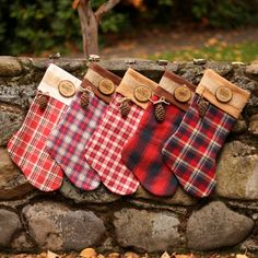 personalized christmas stocking family christmas stockings buffalo plaid flannel christmas stocking farmhouse christmas wood slice name tag