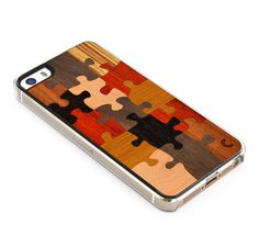 Puzzle Wood iPhone 5/5S Clear Case. The case is made from Highest Quality plastic and variety of different wood types (usually 5-7 different types).