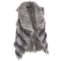 Wilsons Leather Rabbit Fur Knitted Vest ($450) ❤ liked on Polyvore featuring outerwear, vests, rabbit fur vest, wilsons leather, vest waistcoat and rabbit vest