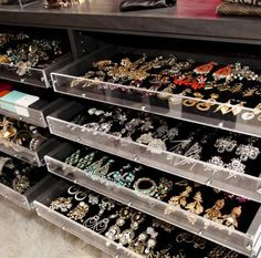 Mary Alice Stephenson's earring storage in her walk-in closet..