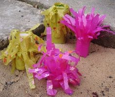 Sea anemones - Preschool Ocean Theme Craft using toilet paper roll and plastic bag