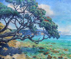 Graham Downs NZ landscape artist, oil on canvas, pohutukawa tree Acrylic Painting Trees, Photo To Oil Painting, Boat Painting, Oil Painting Abstract, Painting Canvas, Auckland, Graham, New Zealand Art, Nz Art