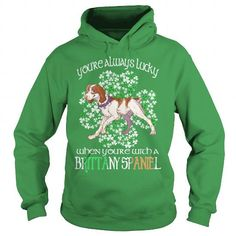 I Love Brittany Spaniel Saint Patrick's Day Lucky With A Brittany Spaniel Dog T-Shirts