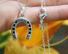 Charm Necklace - .925 Sterling Silver Chain - Horseshoe Pendant - Pony Lover Gift