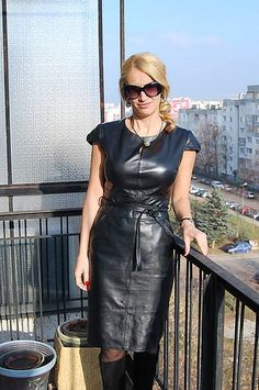 """""""The dress of a goddess"""" Sexy Outfits, Fashion Outfits, Womens Fashion, Vinyl Dress, Leder Outfits, Black Leather Dresses, Leather Fashion, Clothes For Women, Vintage Leather"""