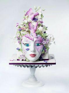 Amazing Cake. Mask with gorgeous flowers