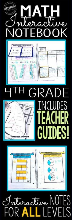 These grade interactive math notebook pages are common core aligned! They help your students understand the standards through models and other visuals and help you as the teacher understand how to teach each standard through detailed teacher directions. Notebook Design, Notebook Diy, Notebook Drawing, Notebook Organization, Math Tutor, Math Teacher, Teaching Math, Teaching Ideas, Fourth Grade Math