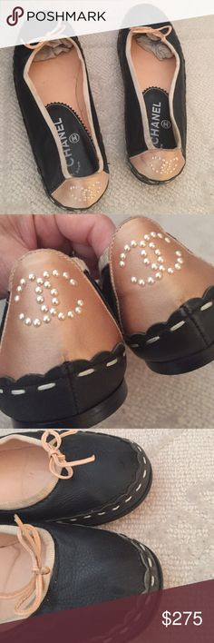 Chanel vintage leather ballet flats pearl cc 37.5- good vintage condition CHANEL Shoes Flats & Loafers