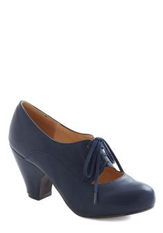 Kudos Were the Days Heel by Chelsea Crew - Mid, Leather, Blue, Solid, Vintage Inspired, 20s, 30s, Lace Up
