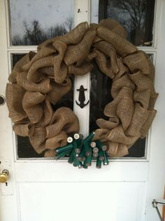 Burlap Wreath with Green Shotgun Shells by TheNethouse on Etsy, $35.00