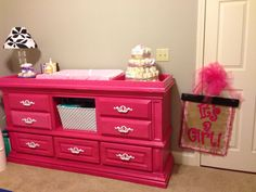 Wall color - SW mindful gray Changing Table - Rustoluem Berry Pink