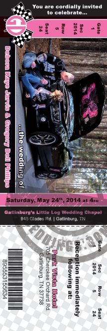 NASCAR themed wedding invitation - get a quote today!