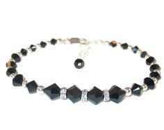 JET BLACK Beaded Bracelet Swarovski Crystal Elements Sterling Silver Handcrafted by CharminglyYoursToo on Etsy