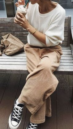 63aedd3bbe78 chaser la thermal waffle knit top + corduroy a line pants + converse chuck  taylor sneakers