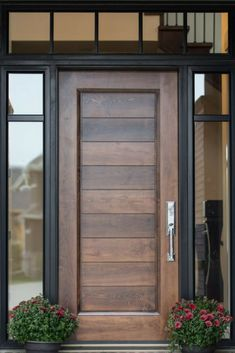 Learn what each type of door has to offer and you'll be one step closer to finding the front door of your dream home! [Front Door Ideas, Modern House, Porch Door Ideas, Wooden Door Ideas, Doors With Windows, Modern Doors, Modern Style Doors, Entryway Plants]