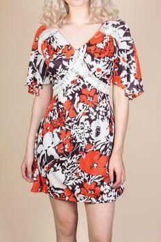 8ca9804859 70s Boho Floral Mini Dress - Large