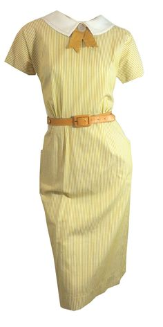 vintage Saffron Yellow Pinstriped Dress with by DorotheasCloset, $130.00