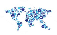 World map orange with media icons gumiabroncs Images