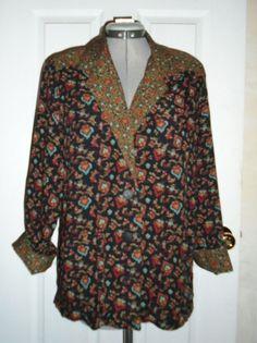 CAROLE LITTLE Vintage Germany Colorful Jacket Petites Blouse Size 6 #CaroleLittle #Blouse