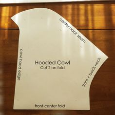 """References of my hooded cowl, as promised!ヾ(@°▽°@)ノ I've already ripped away the original pattern drafting paper, but I think it's fairly easy to understand. I excluded pictures of the lining because this pattern is huge and my table is only so big. My hooded cowl total was 44"""" at its longest, so plan your fabric accordingly. Skimping on fabric makes for mediocre work. The note in the last photo (sewing the lip of the hood to the front facing) is very important, because if y..."""
