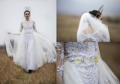 Ivory tulle wedding gown with sequins and by AtelierDeCoutureJK