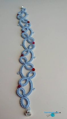 Tatted bracelet light blue with red beads tatting by Sandulacraft