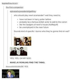 NO! David Tennant can't be in it! That violates the rule that they can't have been in previous Potter Movies!