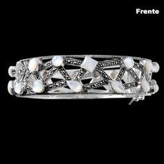 [LANÇAMENTO] Bracelete de Prata com Madrepérola e Marcassitas.