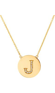Die for this push present. Jennifer Meyer Yellow Gold & Diamond 'J' Pendant Necklace (In my dreams)