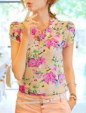 Women's  Floral Print Chiffon Blouse  – EUR € 10.88