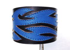 Mens leather cuff. black and blue leather by ChristyKeysCreations, $32.00
