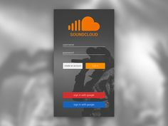 soundcloud login - material design