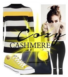"""""""Yellow mellow #cosychic"""" by la-fraser-1 ❤ liked on Polyvore featuring Jaeger, Topshop, Orciani and Converse"""