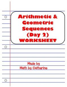 arithmetic geometric sequences worksheet and homework worksheet package minis arithmetic. Black Bedroom Furniture Sets. Home Design Ideas