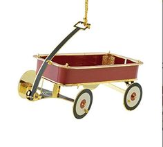 24KT Gold Finished 3D Little Red Wagon Christmas Tree Ornament