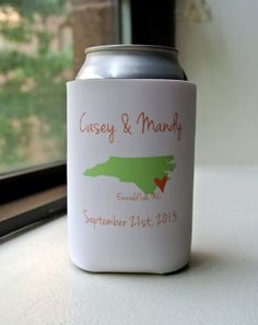 City and State Wedding Favor Can Coolers  by yourethatgirldesigns, $114.00