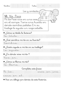 Foto: Mi tío Paco (1º Primaria) Teaching Spanish, Kids Learning, Sheet Music, Language, Math Equations, Album, Motivation, Education, Signs