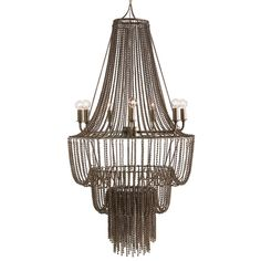 The Maxim Iron Beaded Chandelier from Arteriors features a waterfall design. This chandelier has 3 tiers of tiny oxidized iron beaded chain swags draped over iron hoops to create an impressive metalwork design in an antique brass finish. Empire Chandelier, Beaded Chandelier, Modern Chandelier, Chandelier Lighting, Round Chandelier, Industrial Chandelier, Modern Industrial, Eclectic Chandeliers, Iron Chandeliers