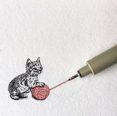 Ink Drawing Kitten with a Ball of Yarn. Tiny Animals in Pen and Ink Drawings. By Bryan Schiavone - Tiny animals, that interact with the pen that drew them, which is also used to give a sense of scale. Bryan Schiavone is a pen Ink Pen Art, Ink Pen Drawings, Animal Drawings, Mini Drawings, Ant Drawing, Drawing With Pen, Stylo Art, Stippling Art, Pen Sketch